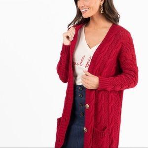 Agnes & Dora | Red Cable Knit Boyfriend Cardigan M